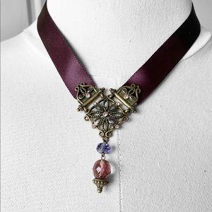 Vintage Brass Charm with Satin Ribbon Choker